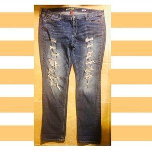 Arizona Jeans distressed ripped stretchy  Sz 18